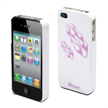 Glossy - Coque - flammes blanches et violettes pour iPhone 4