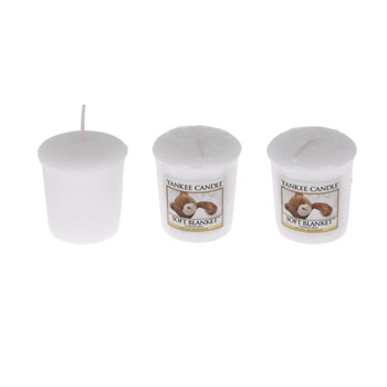 Yankee Candle - Couverture Douce - Lot de 3 votives - blanc