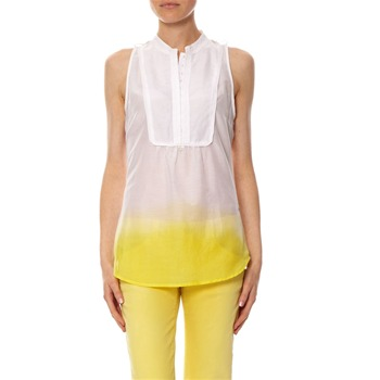 Top tie and dye en coton et soie jaune