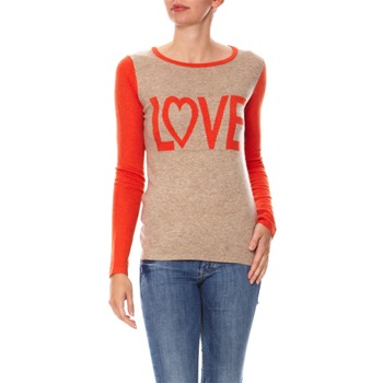 Mode en direct - Pull - col rond taupe et orange