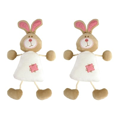 Celestin Le Lapin - Lot de 2 doudous - marron clair