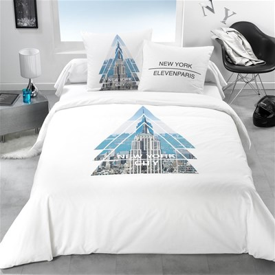 Eleven paris triangle nyc housse de couette blanc for Housse couette triangle