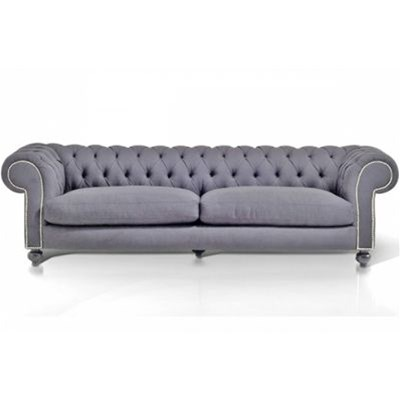 d co chesterfield canap 3 places velours clout gris brandalley. Black Bedroom Furniture Sets. Home Design Ideas