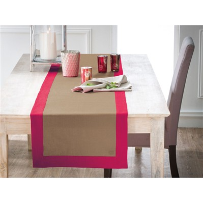 Chemin de table - sable et rouge