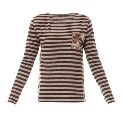 T-shirt - marron imprimé
