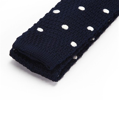 DAGOBEAR Cravate tricot à points blancs - bleu