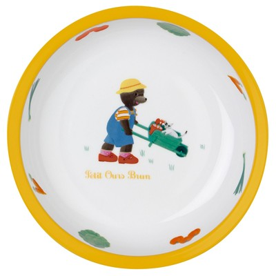 GUY DEGRENNE Petit ours brun - Assiette creuse - en porcelaine bicolore