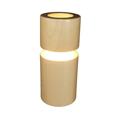 ARTWOOD CREATIONS MuSyca - Lampe design en bois connectée Bluetooth cylindrique - Blanc cassé