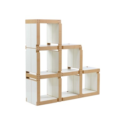 Fabulem Meuble bibliothèque escallier modulable 18 modules - blanc