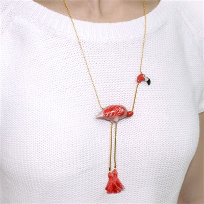 Flamant rose - Mini Collier - rouge
