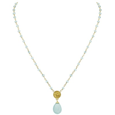 Collier Athena Aqua - Plaqué Or 24K