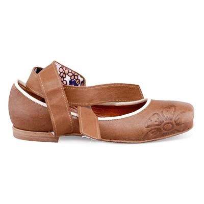 DESIGN Ballerines en cuir - marron