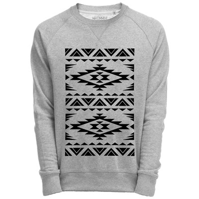 NO COMMENT PARIS Sweat Shirt Gris imprimé native graphique design - gris