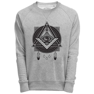 NO COMMENT PARIS Sweat Shirt Gris imprimé graphique illuminati - gris