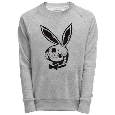 NO COMMENT PARIS Sweat Shirt Gris imprimé playboy skull - gris