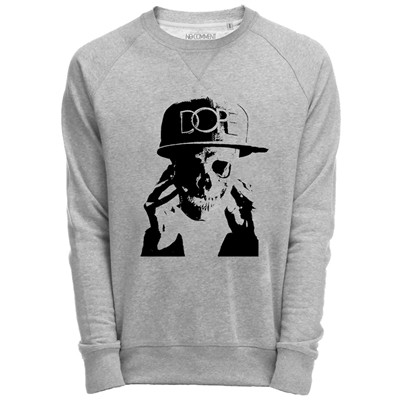 NO COMMENT PARIS Sweat Shirt Gris imprimé Dope cap skull - gris
