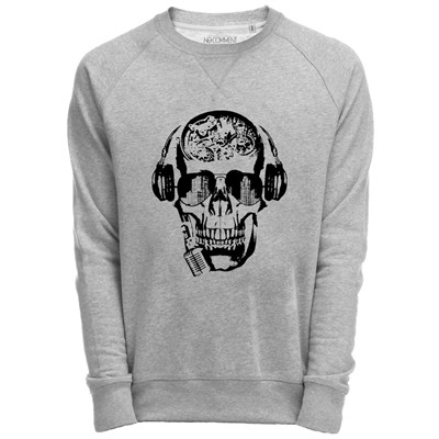 NO COMMENT PARIS Sweat Shirt Gris imprimé Dj skull design - gris