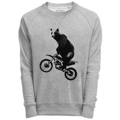 NO COMMENT PARIS Sweat Shirt Gris imprimé rock animal - gris