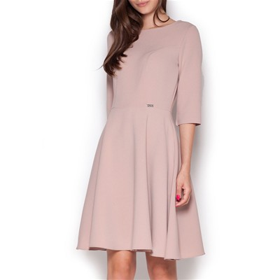 Robe manches 3/4 - rose clair