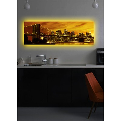 DECO WALL Tableau mural à LED - ocre