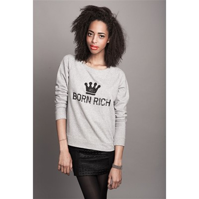 PARISIAN RICH Sweat shirt en coton - gris chiné Born Rich