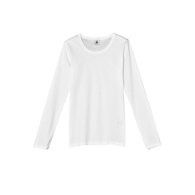 T-shirt fille uni manches longues à point cocotte - blanc