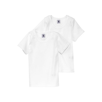 Lot de 2 T-shirts fille unis à point cocotte - blanc