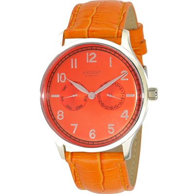 Montre bracelet en cuir - orange