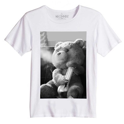 NO COMMENT PARIS Funny Ted Smoke - T-Shirt Imprimé Bio - blanc