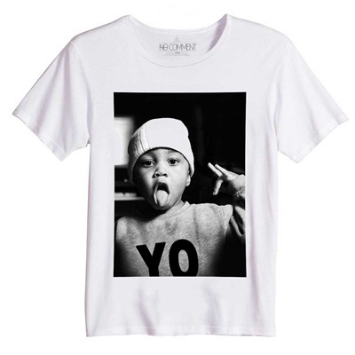 NO COMMENT PARIS Hipster Boy - T-Shirt Imprimé Bio - blanc