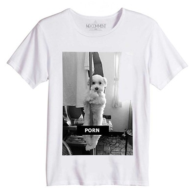 NO COMMENT PARIS Funny Dog - T-Shirt Imprimé Bio - blanc