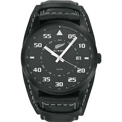 All Blacks montre analogique en cuir - noir