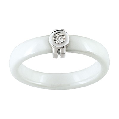 Bague en or sertie de diamant - blanc