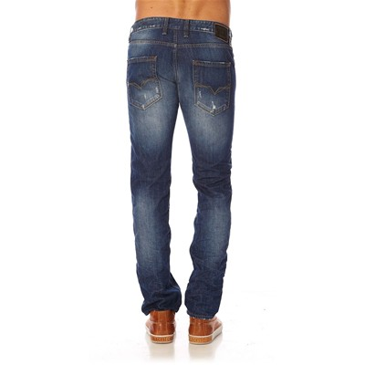 GUESS Straight Broken University - Jean slim - bleu foncé
