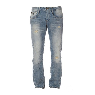 GUESS Straight Bleached Lesson - Jean slim - bleu