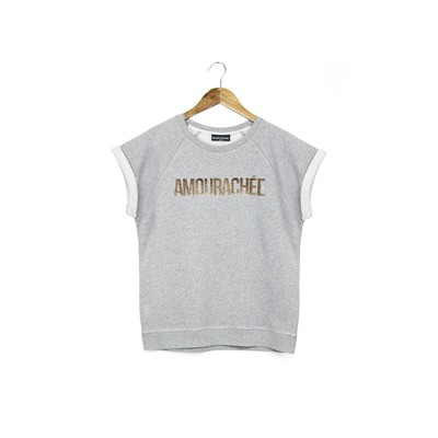 FRENCH DISORDER Amourachée - Sweat manches courtes en coton - gris