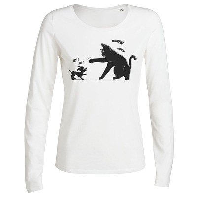 ARTECITA Chat power - T-shirt imprimé bio - blanc