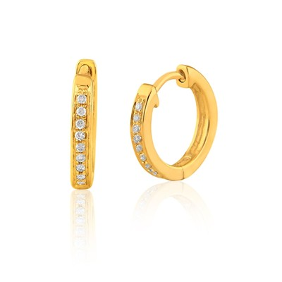 Carashop Boucles d'oreilles en or jaune 18 carats et diamants - jaune