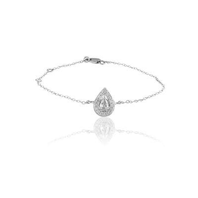 Carashop Bracelet en or blanc serti de diamants - blanc