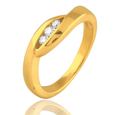 Bague en or jaune sertie de diamants - jaune