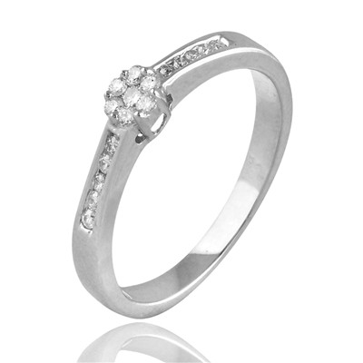 Carashop Bague avec diamants - blanc