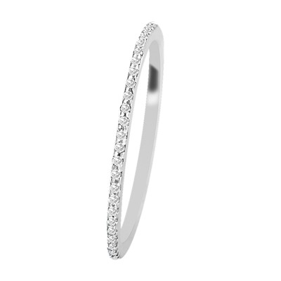 Carashop Bague en or blanc 18 carats et diamants - blanc