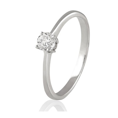 Carashop Bague en or blanc sertie d'un diamant - blanc
