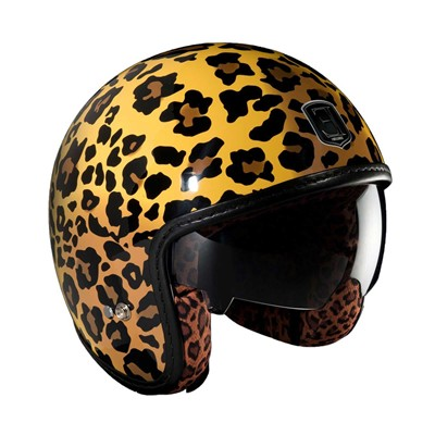 Exklusiv Design léopard - casque moto jet - orange
