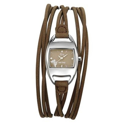 Go Girl only montre en or 375/1000 et en cuir - marron