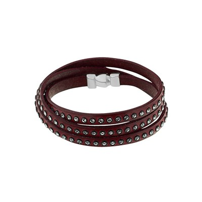 Bracelet multi-rangs en cuir - marron
