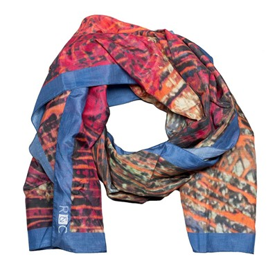 Orange Marine - Foulard étole en coton et soie - orange