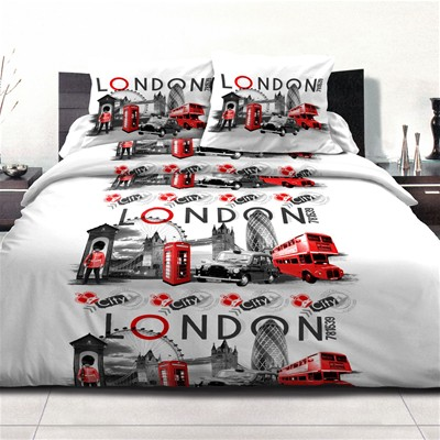 HOME TEXTILE LONDON CITY ROUGE - Parure de couette 3 Pieces - rouge