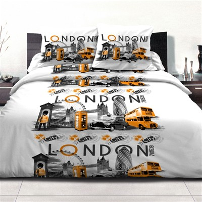 HOME TEXTILE LONDON CITY ORANGE - Parure de couette 3 Pieces - orange