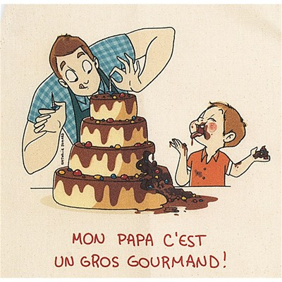 Papa gourmand - Tablier - ecru